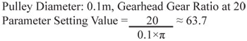 Parameter Setting Value Example Equation