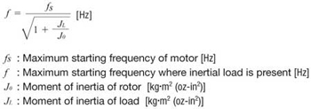 Maximum Starting Frequency with Inertial Load Formula